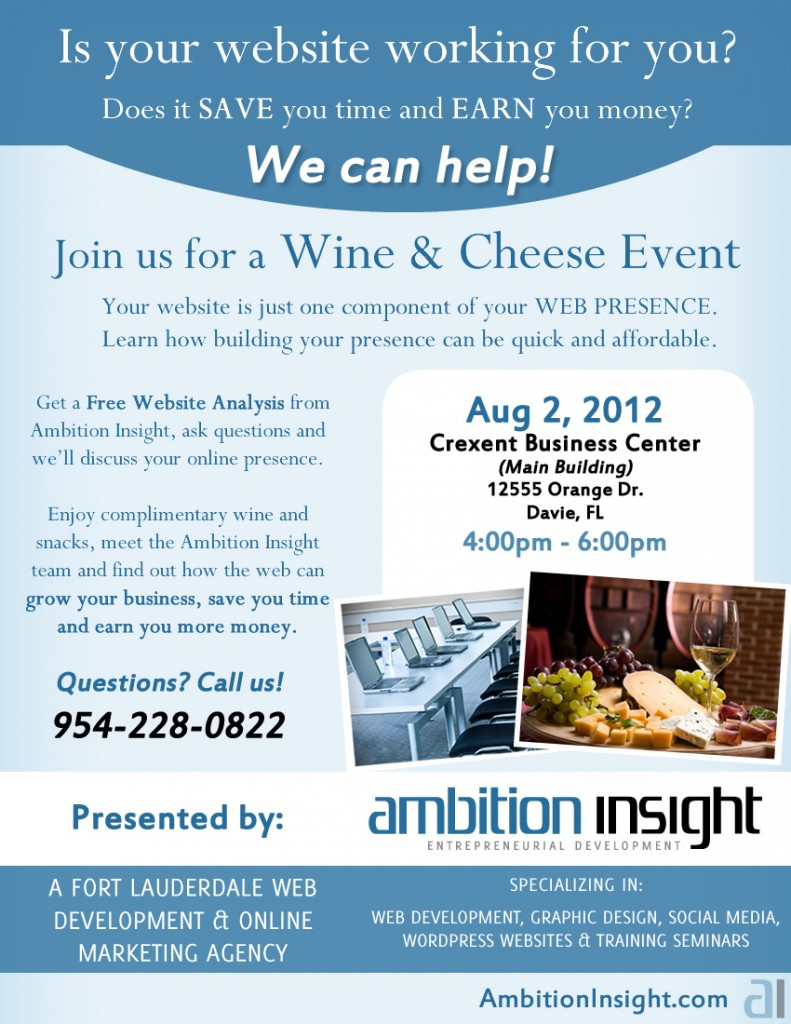 South Florida Web Development Wine &amp; Cheese Flyer